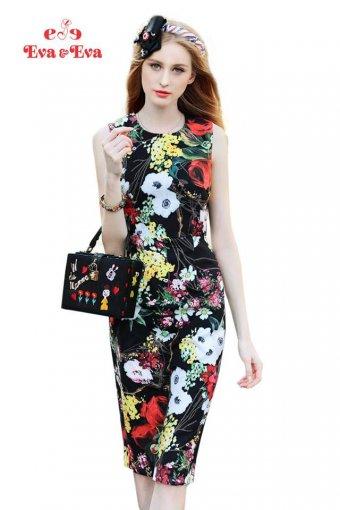 Đầm hoa đen form ôm